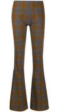 Tartan Patterned Flared Trousers - Charlotte Knowles