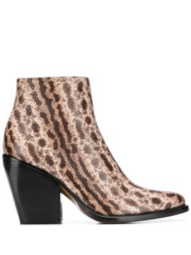 Snake-effect Ankle Boots - Chloé