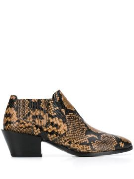 Snake-effect Ankle Boots - Tods