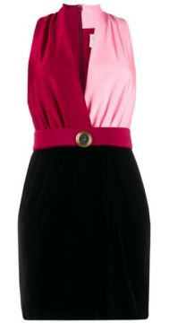 Contrast Fitted V-neck Dress - Fausto Puglisi
