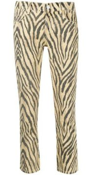 Zebra Print Cropped Trousers - Current/elliott