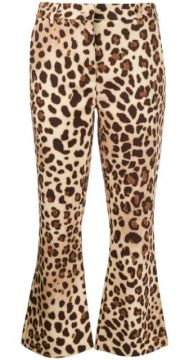 Cropped Flared Leopard Print Trousers - Be Blumarine