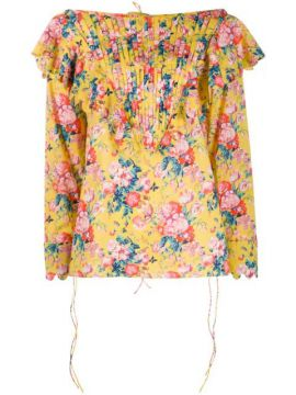 Ruffle Trimmed Floral Top - Horror Vacui