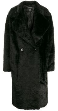 Double Breasted Faux Fur Coat - Dkny