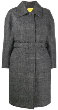 Padded Check Belted Coat - Ienki Ienki