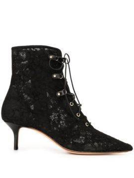 Lace Kitten Heel Bootie With Lace-up - Francesco Russo