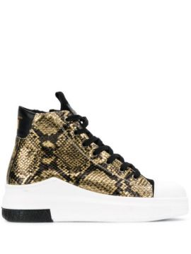 Snakeskin Effect High Top Sneakers - Cinzia Araia