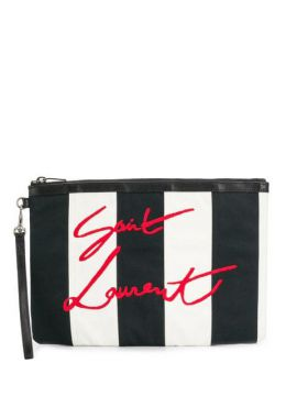 Clutch Listrada Com Logo Bordado - Saint Laurent