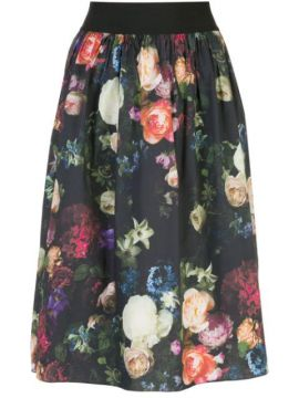 Multi Floral Full Skirt - Adam Lippes