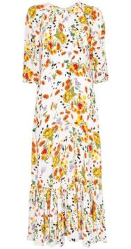 Floral Pattern Flared-hem Dress - Bytimo