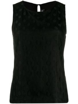 Dotted Mesh Panel Blouse - Styland
