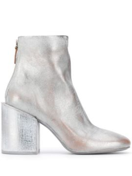 Distressed Metallic-effect Ankle Boots - Marsèll