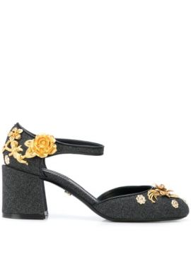 Embroidered Vally Ankle Strap Pumps - Dolce & Gabbana