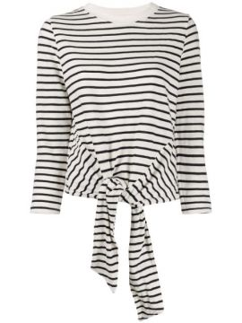 Tie Front Striped Sweatshirt - Current/elliott