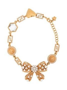 Crystal Embellised Bow Charm Necklace - Versace