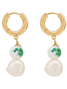 18k Gold-plated Heloise Floral Pearl Drop Earrings - Anni Lu