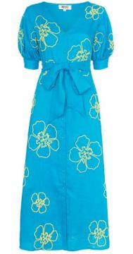 Kaleo Floral-embroidered Midi Dress - All Things Mochi