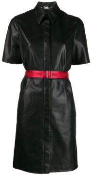 Faux Leather Shirt Dress - Karl Lagerfeld