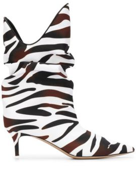 Zebra-print Slouch Ankle Boots - Attico