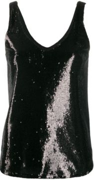 Sequined V-neck Tank Top - Blanca