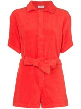 Towelling Tie-waist Playsuit - Terry