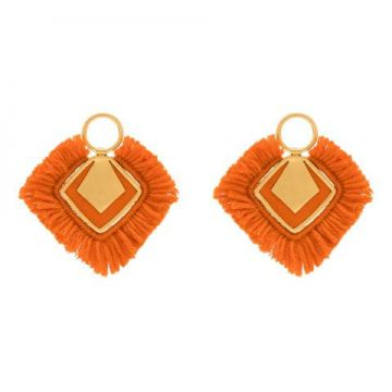 24k Gold-plated Silver And Orange Wool Earrings - Katerina M