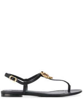 Logo Plaque T-bar Sandals - Dolce & Gabbana