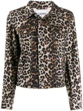 Leopard Denim Jacket - Ganni