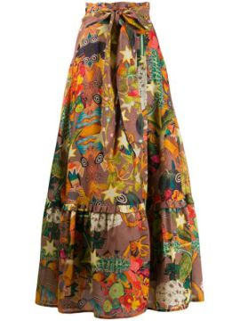 Belted Patterned Maxi Skirt - Chufy