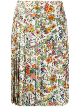Floral Print Pleated Skirt - Tory Burch