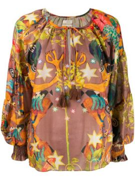 Oversized Abstract Print Blouse - Chufy