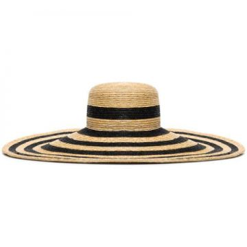 Neutral And Black Maxi Striped Straw Hat - Eliurpi