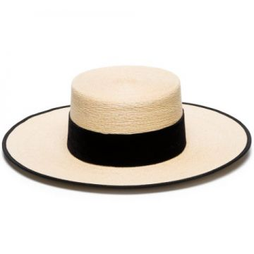 Black And Beige Cordobes Straw Hat - Eliurpi