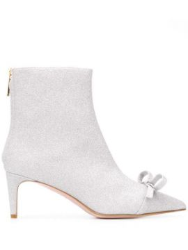 Bow Detail Glitter Ankle Boots - Red Valentino