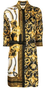 Barocco Signature Print Belted Shirt Dress - Versace
