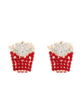 Red And Gold Tone Crystal Fries Earrings - Browns X Sara Sha