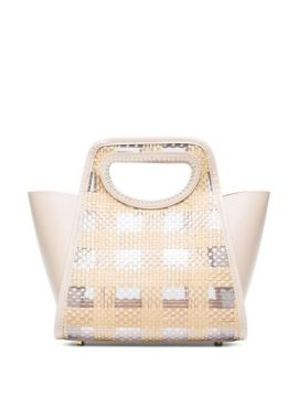 Neutral Cupidon Small Leather And Raffia Tote Bag - Elleme