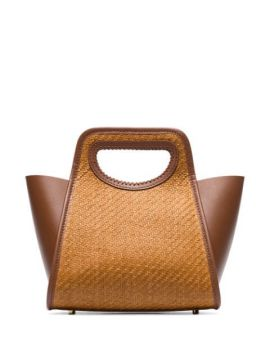 Brown Cupidion Raffia And Leather Tote - Elleme
