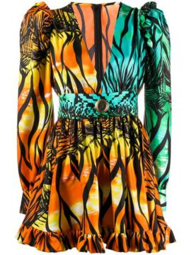 Tropical-print Gigot-sleeved Mini Dress - Fausto Puglisi