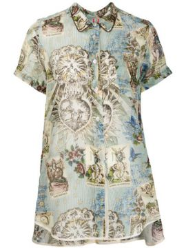 Printed High-low Hem Blouse - F.r.s For Restless Sleepers