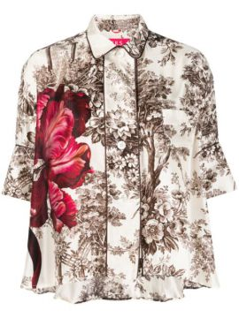 Silk Floral-printed Blouse - F.r.s For Restless Sleepers