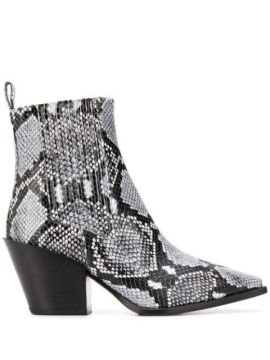 Snake Print Ankle Boots - Aeyde