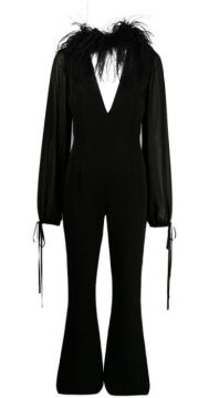 Ostrich Feather Trimmed Flared Jumpsuit - 16arlington