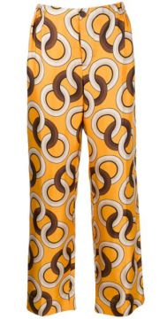 Silk Geometric-print Trousers - F.r.s For Restless Sleepers