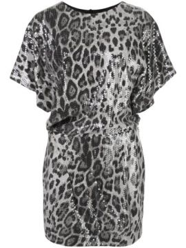 Sequined Animal Print Mini Dress - In The Mood For Love
