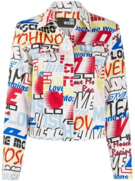 Mixed Logo Print Denim Jacket - Love Moschino