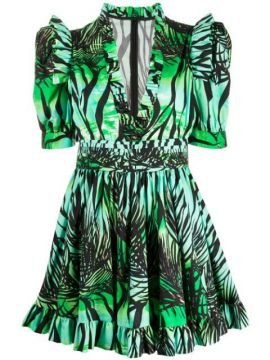 Foliage-print Ruffled Dress - Fausto Puglisi