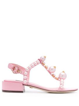 Bejewelled Satin Sandals - Dolce & Gabbana