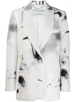 Abstract Print Single-breasted Blazer - Off-white