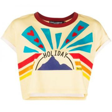 Holiday Print Cropped T-shirt - Dolce & Gabbana